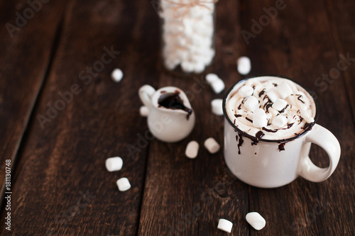 Foto op Canvas Chocolade Mug of hot chocolate or cocoa with marsmallow