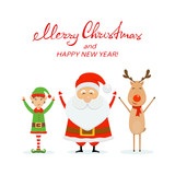 Merry  Christmas and happy Santa with elf and reindeer on a white background - 181131919