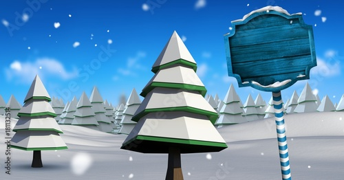 Fotobehang Donkergrijs Wooden signpost in Christmas Winter landscape with trees