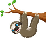 Cartoon cute sloth hanging on the tree