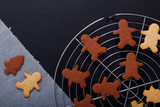 Baking concept Fresh bake Homemade organic Butter sugar Cookies dough on round wooden board and cookie cutter various shape with copy space
