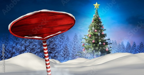 Poster Nachtblauw Wooden signpost in Christmas Winter landscape