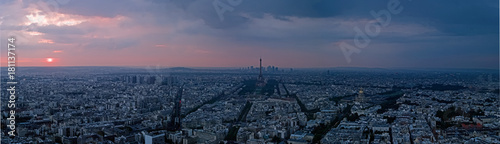 Aerial view at sunset of Eiffel Tower and La Defense in background, Paris, France - 181137174