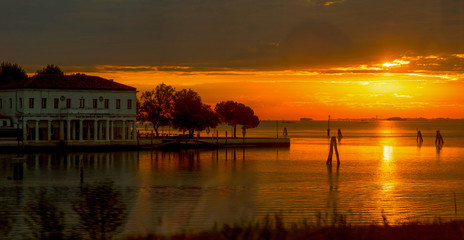 Sunrise at the entrance to Venice..