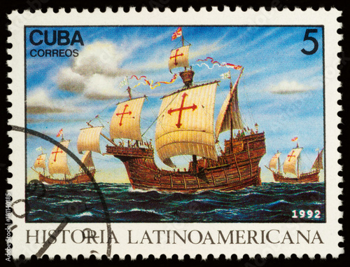 Plexiglas Zeilen Three ships of Columbus on postage stamp