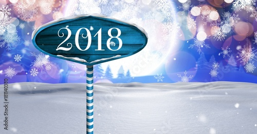 Plexiglas Bleke violet 2018 New Year text on Wooden signpost in Christmas Winter