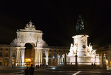 Triumphal Rua Augusta Arch and Statue of Dom Jose in Lisbon at night. - 181142146