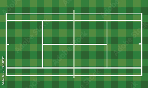 Foto op Canvas Groene Tennis field. vector illustration