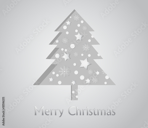 Foto op Canvas Wit Christmas tree shape with snow flake and star on gray background - vector illustration paper cut style