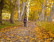 Woman with dog in autumn park.