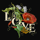 Embroidery poppies. Slogan Love. Classical embroidery blossoming red poppies and white chamomiles on black background, template fashionable clothes, t-shirt design, beautiful flowers vector - 181153142