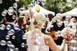 Leinwandbild Motiv Gäste gratulieren Hochzeitspaar, Seifenblasen