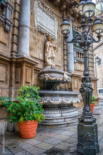 Staande foto Palermo piazza di quattro fontana palermo, sicily, italy