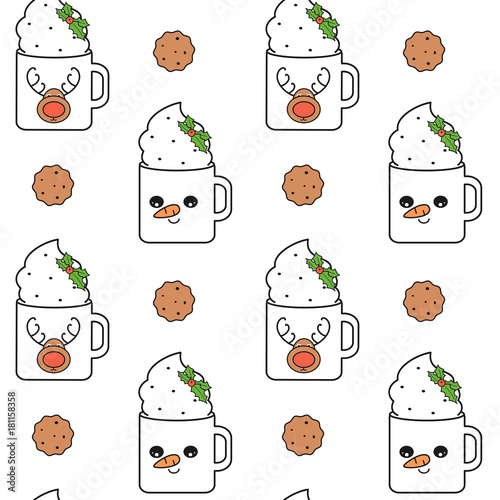 Cotton fabric cute lovely cartoon christmas cups seamless vector pattern background illustration