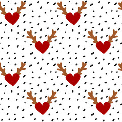 hand drawn black confetti on white background simple abstract seamless vector pattern illustration with red hearts with antlers