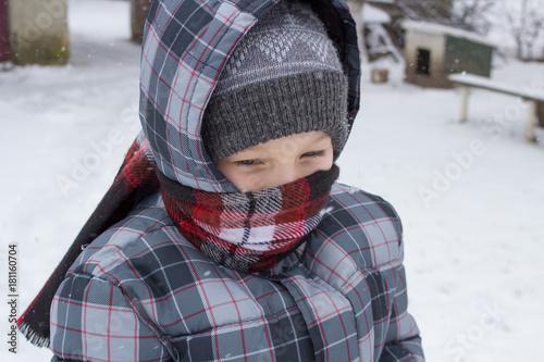boy in winter in scarf Plakát