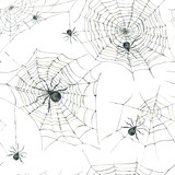 Watercolor seamless pattern with black spider and web - 181160916