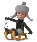 3d illustration Little Boy wearing Winter Clothes - 181162368