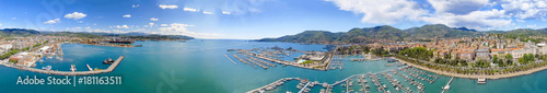 Keuken foto achterwand Liguria La Spezia, Italy. Panoramic view of port and city skyline on a sunny day