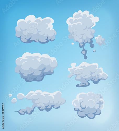 Smoke, Fog And Clouds Set On Blue Sky