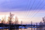 Power line in the early morning - 181165763