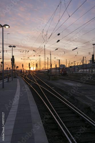 Tuinposter Spoorlijn Bahnfahren