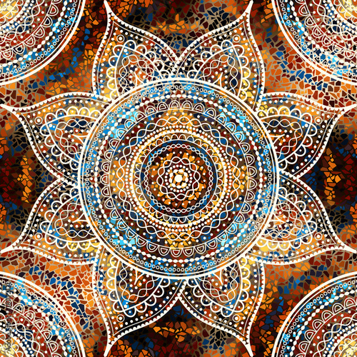 Vector square background. Mandala round decorative ornament pattern. - 181172121