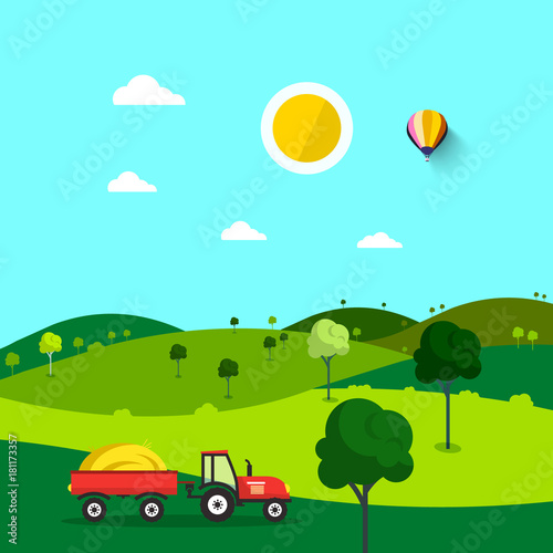 Plexiglas Boerderij Field. Nature Cartoon with Trees and Tractor. Sunny Day. Rural Scene.