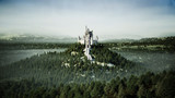 Old fairytale castle on the hill. aerial view. 3d rendering. - 181174393