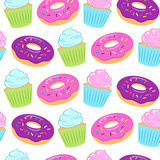 Seamless colorful pattern with donuts and cupcakes on white background. Vector illustration