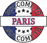 welcome to paris round stamp