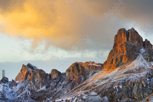 Poster Diepbruine Sunset light over the Dolomites, Italy, Europe