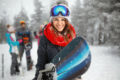 portrait of young girl snowboarder