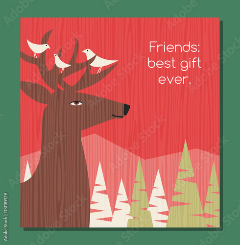 Fotobehang Hipster Hert retro holiday greeting card winter scene with deer and bird friends perched on his antlers. Vector illustration.