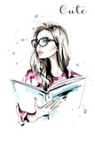 Hand drawn beautiful woman with book. Fashion woman in eyeglasses. Stylish blond hair girl portrait. Sketch. Vector illustration. - 181189597