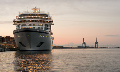 Prow of cruise ship moored in Copenhagen harbour