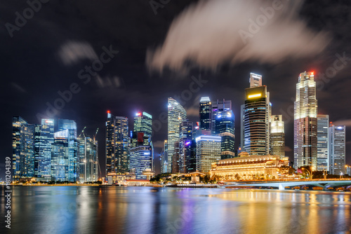 Fantastic night view of skyscrapers by Marina Bay, Singapore