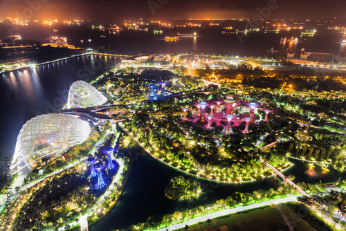 Top view of fantastic garden by Marina Bay, Singapore