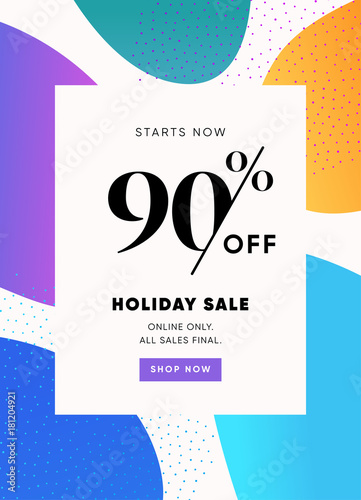 Holiday Banner 90 Off Special Offer Ad Promotion Vector