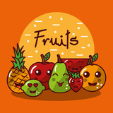 cute kawaii fruits set smiling healthy food vector illustration