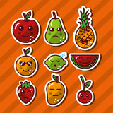 kawaii smiling fruits adorable food cartoon vector illustration