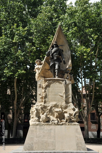 Monument to Corporal Luis Noval Ferrao (1887 - 1909), a Spanish patriot who was killed in Morocco on the Plaza de Oriente of Madrid.