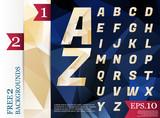 Crystal Font polygonal alphabet Background geometric pattern of triangles.eps.10