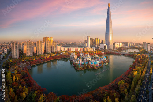 Tuinposter Seoel Travel point and Tower and building in Seoul city with autumn and fall park in Korea, Asia