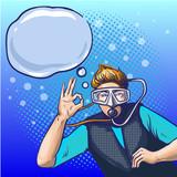 Vector pop art illustration of man in scuba diving equipment - 181215503