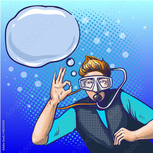 Aluminium Pop Art Vector pop art illustration of man in scuba diving equipment
