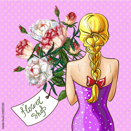 Papiers peints Pop Art Vector pop art girl with flower bouquet