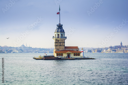 maiden's tower on galata tower and blue mosque background Poster