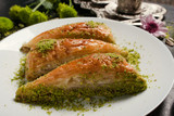 Baklava traditional oriental dessert. Sweet turkish food background concept
