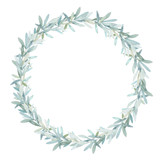 Watercolor leaves wreath. Hand drawn isolated border - 181221989